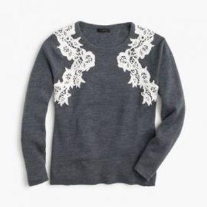 J. Crew Lace Appliqué Sweater